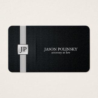 Advogado preto e de prata elegante na lei cartão de visitas