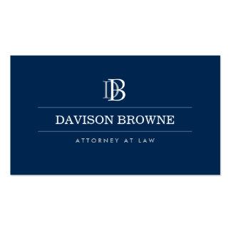 Advogado profissional do monograma, azul do cartão de visita
