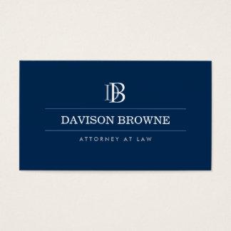 Advogado profissional do monograma, azul do cartão de visitas
