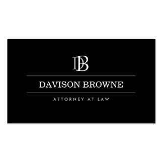 Advogado profissional do monograma, preto do cartão de visita