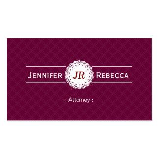 Advogado - roxo moderno do monograma cartão de visita