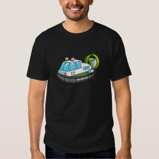 Aerodeslizador branco, verde, e preto dos desenhos tshirts