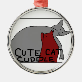 Afago bonito do gato ornamento redondo cor prata