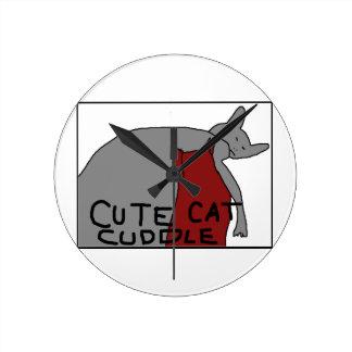 Afago bonito do gato relógio redondo