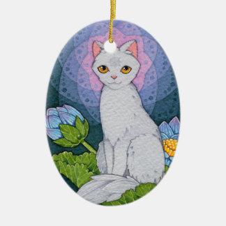 Afirmação de Oracle dos gatos da fantasia - Ornamento De Cerâmica Oval