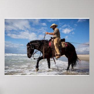Afixar cow boy cavalo no mar poster
