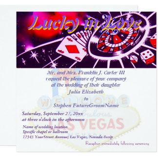 Afortunado em Wedding de Las Vegas do amor Convite Quadrado 13.35 X 13.35cm