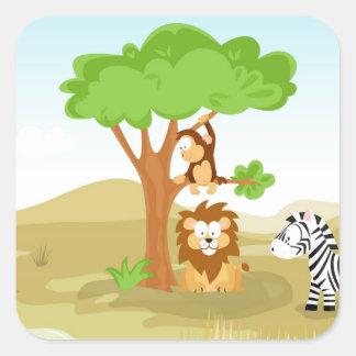 Afrika de minha série do animal do mundo adesivo quadrado