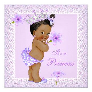Afro-americano da princesa chá de fraldas da convite quadrado 13.35 x 13.35cm