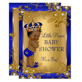 Afro-americano do azul do ouro do chá de fraldas convite 12.7 x 17.78cm