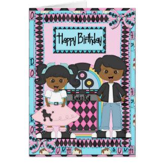 Afro-americano do cartão de aniversário do salto