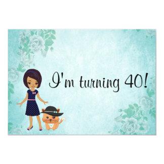 Afro-americano eu estou girando o aniversário 40 convite 12.7 x 17.78cm