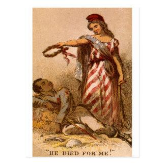 Afro-americano que morre - imagem 1863 da guerra c cartões postais