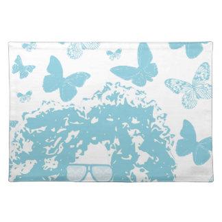 Afro, borboletas e óculos de sol suporte para prato