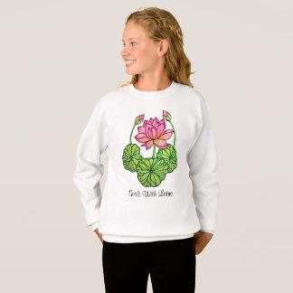 Agasalho Aguarela Lotus cor-de-rosa com botões & folhas