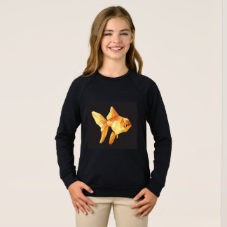 Agasalho Baixo polígono do peixe dourado isolado no preto