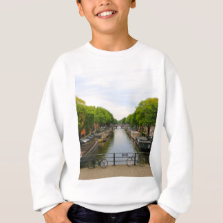 Agasalho Canal, pontes, bicicletas, barcos, Amsterdão,