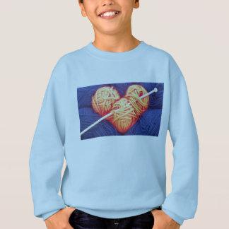 Agasalho Coração bonito de lãs com a fotografia da agulha
