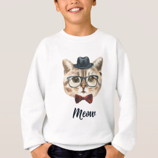 Agasalho Corte o gatinho do gato do hipster do vintage que