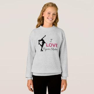 Agasalho EU AMO o patinagem artística, camisola das meninas