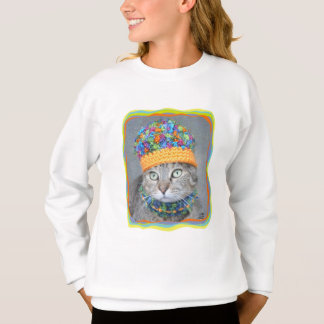 Agasalho Gato de gato malhado no chapéu e no lenço
