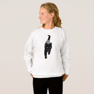 Agasalho Gato preto bonito na neve branca feminino
