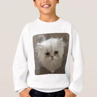 Agasalho Macio branco o gatinho com olhos tristes