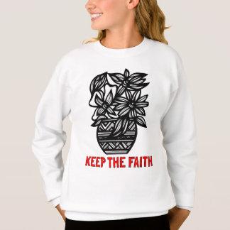 """Agasalho """"Mantenha a camisola das meninas da fé"""""""