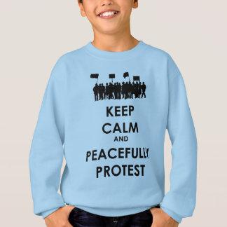 Agasalho Mantenha calmo e proteste pacificamente (o texto