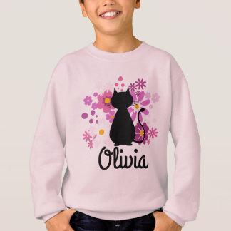 Agasalho O gato no rosa floresce a camisola da menina