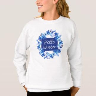 Agasalho Olá! a camisola do florista azul do inverno