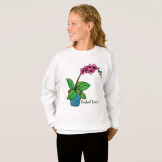 Agasalho Planta da orquídea da aguarela no pote bonito