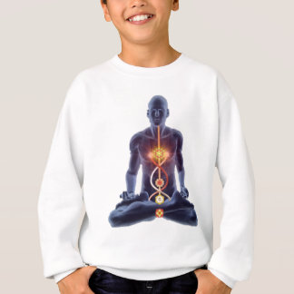 Agasalho Silhueta do homem na pose iluminada da meditação