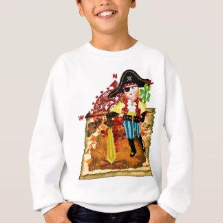 Agasalho T-shirt do mapa do menino e do tesouro do pirata