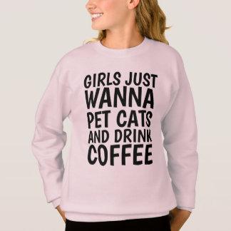 Agasalho T-shirt engraçados do gato para meninas, CAFÉ &