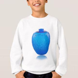Agasalho Vaso de vidro do art deco azul com folhas