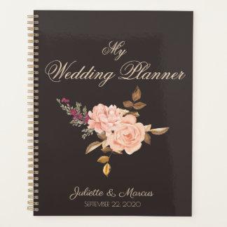 Agenda Casamento cor-de-rosa do buquê do creme elegante