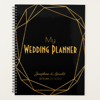 Agenda Casamento elegante moderno do preto & do ouro