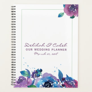 Agenda Casamento floral crepuscular temperamental roxo