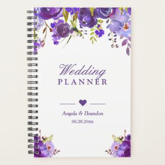 Agenda Casamento floral da aguarela 2018 roxa