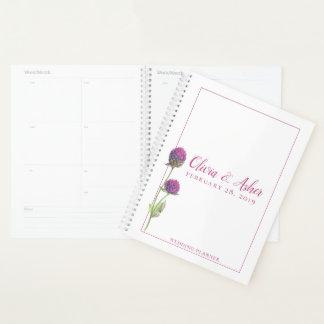 Agenda Casamento simples da flor do cardo do amaranto da