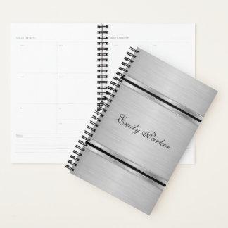 Agenda Monograma cinzento metálico elegante