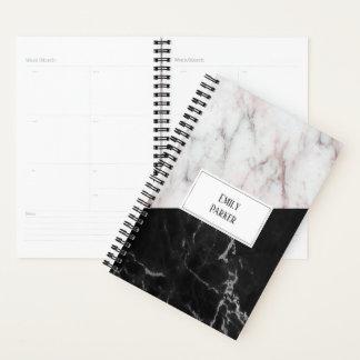 Agenda Monograma de mármore preto e branco