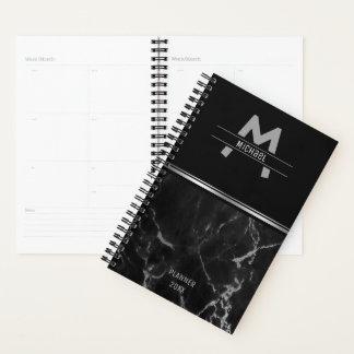 Agenda Monograma de mármore preto e de prata da textura