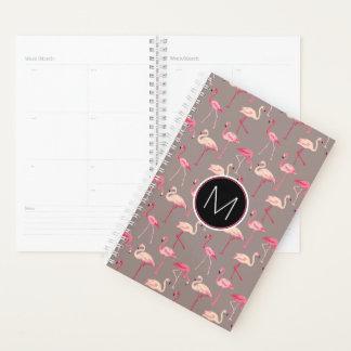 Agenda Monograma retro dos flamingos |