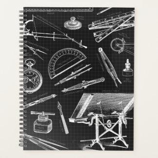 Agenda O arquiteto utiliza ferramentas o branco preto do