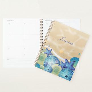 Agenda Seashells e estrela do mar azuis