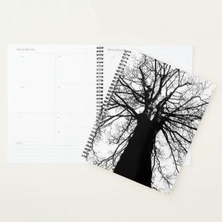 Agenda Silhueta preto e branco da árvore