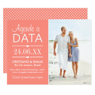 Agende a Data Foto Cartão  | Cores Rosa e Branco