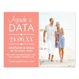 Agende a Data Foto Cartão Cores Rosa e Branco Convites Personalizados